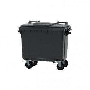 CONTAINER  gunoi  1100 Litri  cu capac plat - Negru