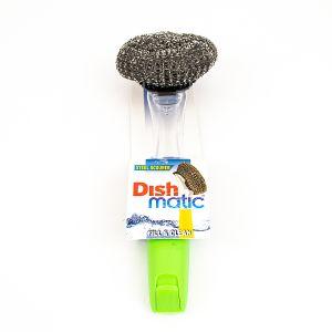 Burete din otel inoxidabil pentru spalat vase cu maner si rezervor detergent DISHMATIC