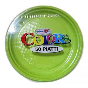 Set farfurii din plastic colorate, 50 buc/set