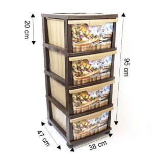 Dulap plastic 4 sertare personalizat Romantic