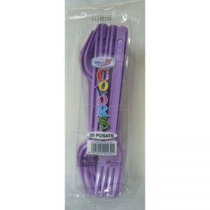 Set furculite din plastic colorate, 20 buc pe set