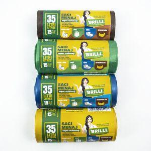Saci menaj colectare selectiva BRILLI 35 L - 15 buc.- SUPER Rezistenti
