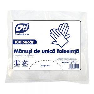 Manusi de unica folosinta din plastic transparent, marimea  L  100 buc./pac