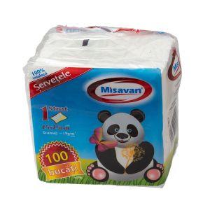 Servetele albe Misavan  25x25 cm 100/set