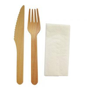 Set tacamuri din lemn biodegradabile  furculita+cutit+servetel, 50 seturi/pachet
