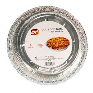 Tava din aluminiu pentru copt tarta 5 bucati/set 1380 ml